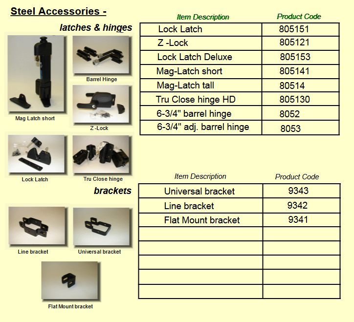 Steel accessories commercial industrial residential